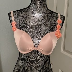 Aerie pink satin bra with coral chiffon flowers